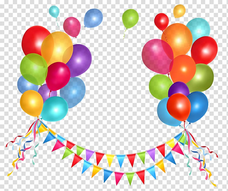 Streamers clipart deco. Birthday cake balloon party
