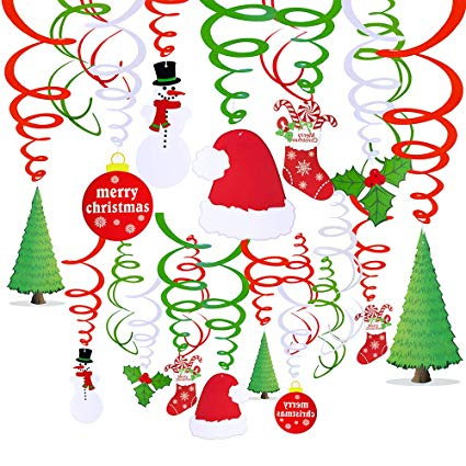 pcs christmas hanging. Streamers clipart decorating