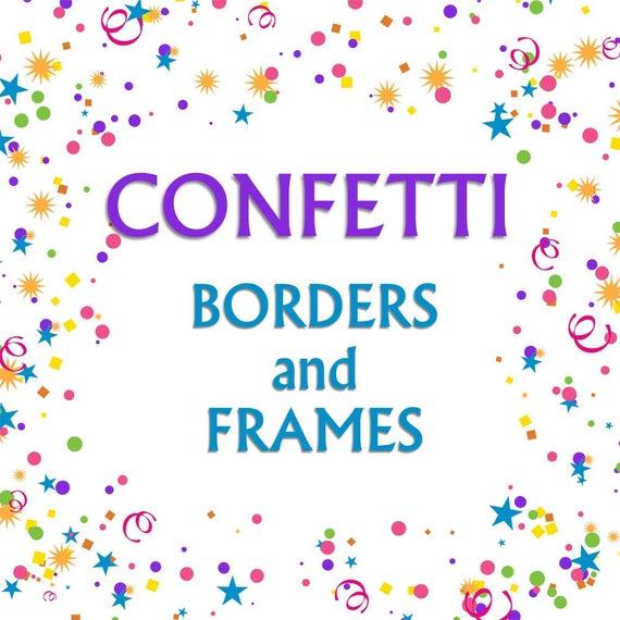 Streamers clipart frame. Confetti borders clip art