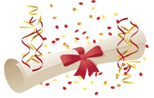 Free diploma and confetti. Streamers clipart graduation