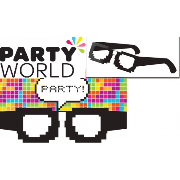 Pixel glasses invitations . Streamers clipart party cracker