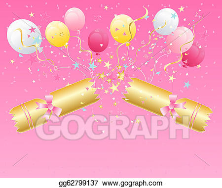Streamers clipart party cracker. Eps vector christmas stock