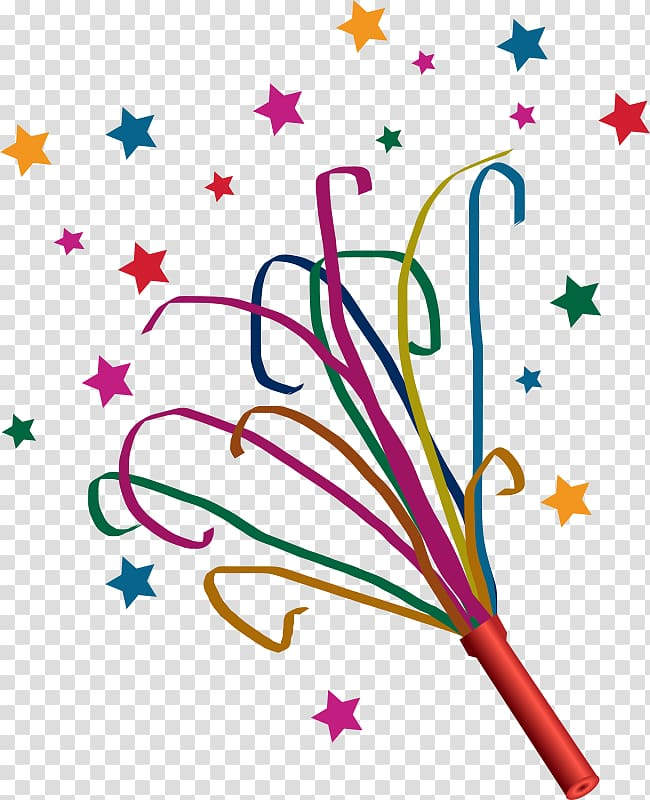 Birthday streamer transparent background. Streamers clipart party favor