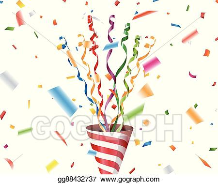 Vector stock with confetti. Streamers clipart party popper
