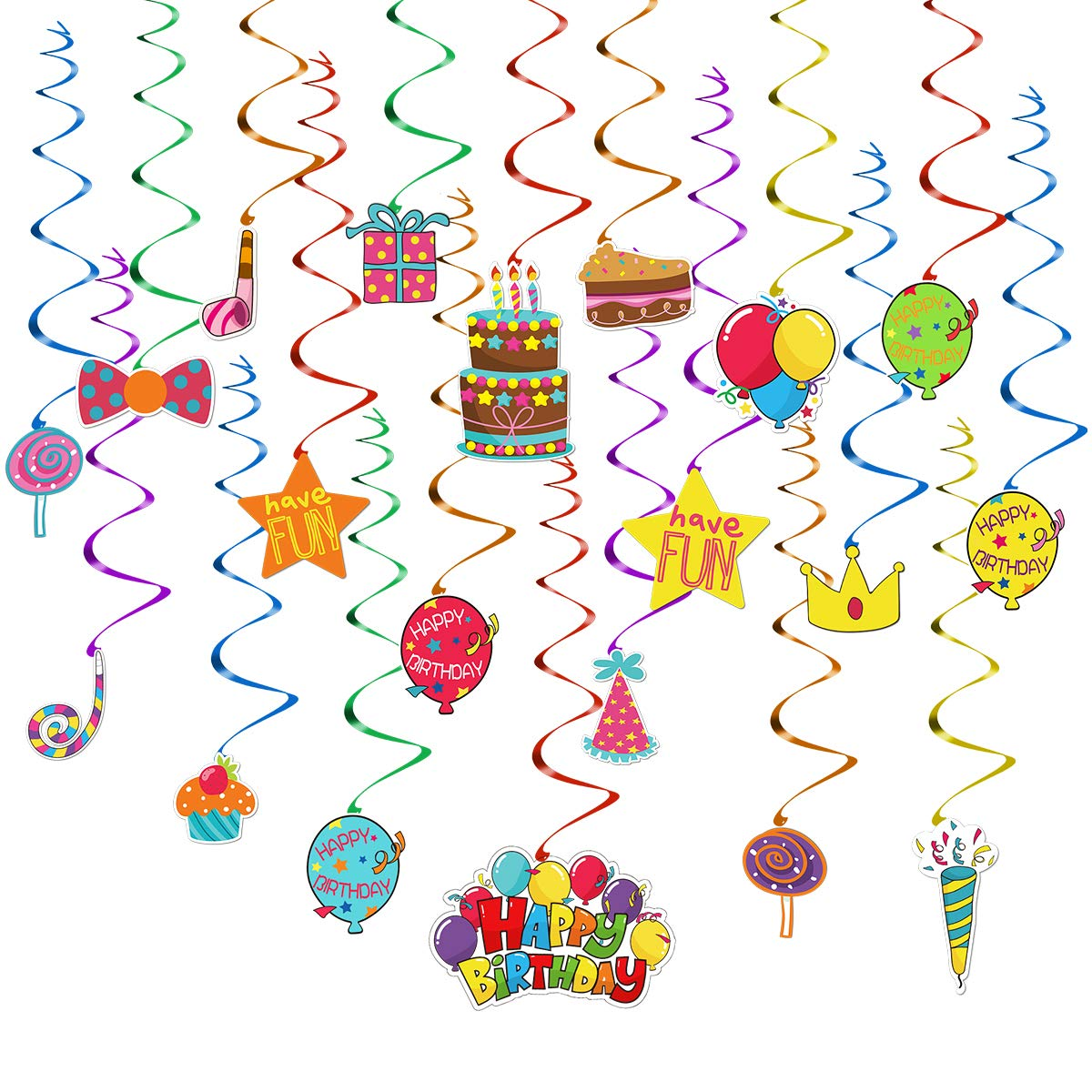 Toymytoy hanging swirl decorations. Streamers clipart rainbow