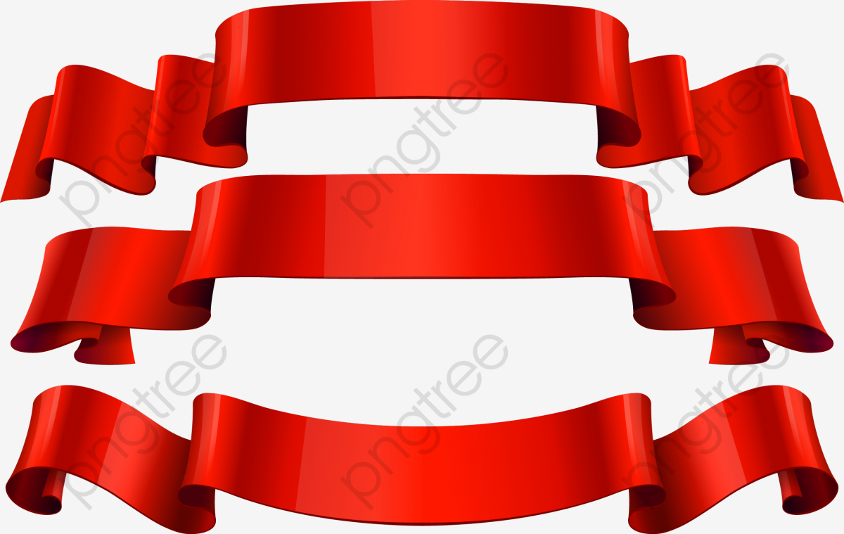 Red colored png and. Streamers clipart ribbon