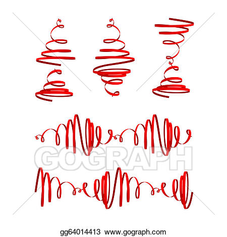 Streamers clipart spiral. Vector festive red illustration