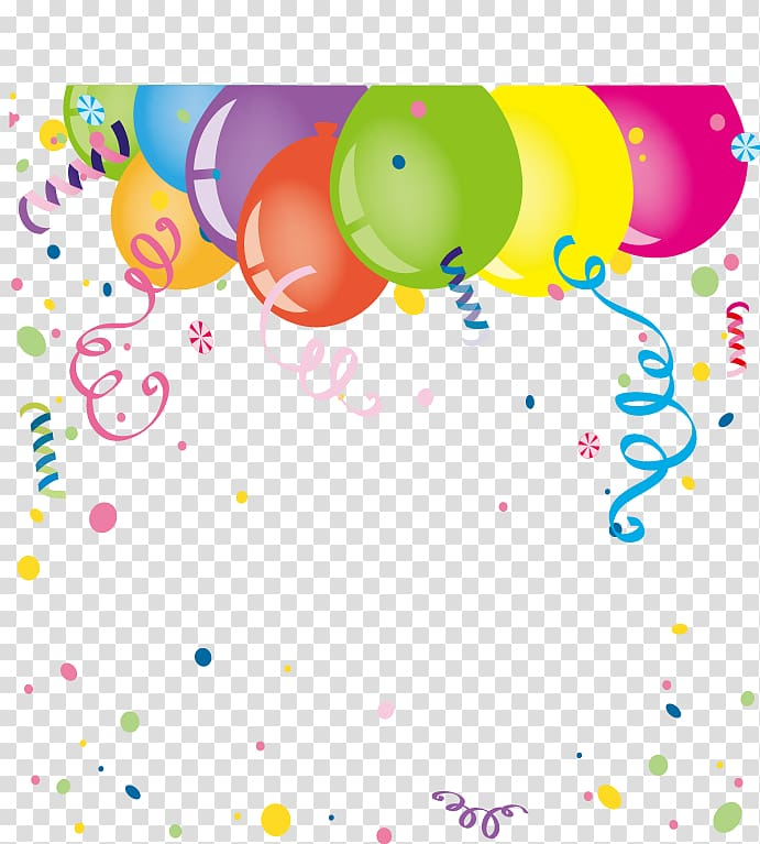 Party balloons and illustration. Streamers clipart wedding confetti