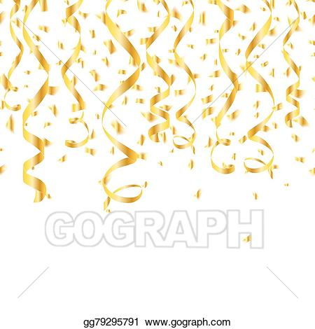 Streamers clipart yellow. Vector illustration party golden