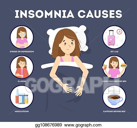 Stress clipart causes stress. Vector illustration of insomnia