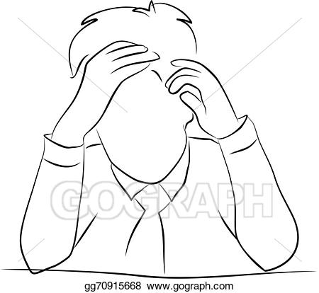 Stock illustration at work. Stress clipart drawing