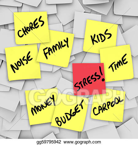 Stock illustrations burdens sticky. Stress clipart family stress