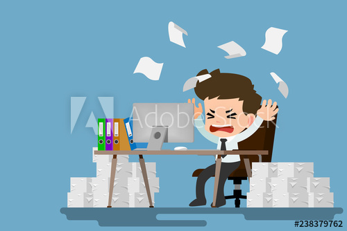 Businessman stress at the. Working clipart lot work