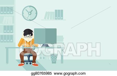 Stress clipart overworked. Vector businessman is under