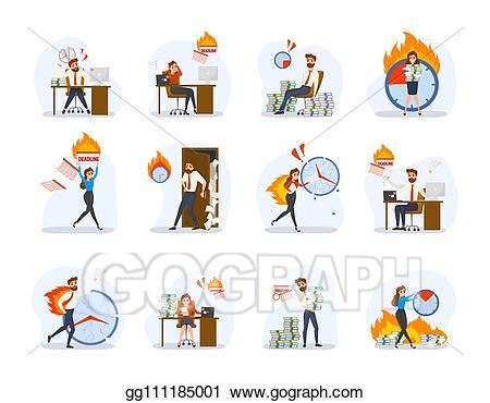 Vector illustration deadline concept. Stress clipart work schedule