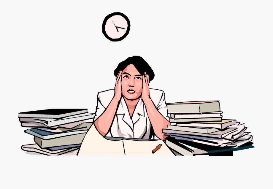 No time free . Stress clipart work schedule
