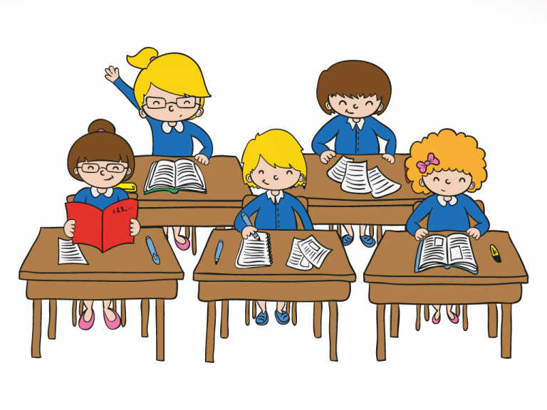 Student clipart class. Child cartoon classroom education