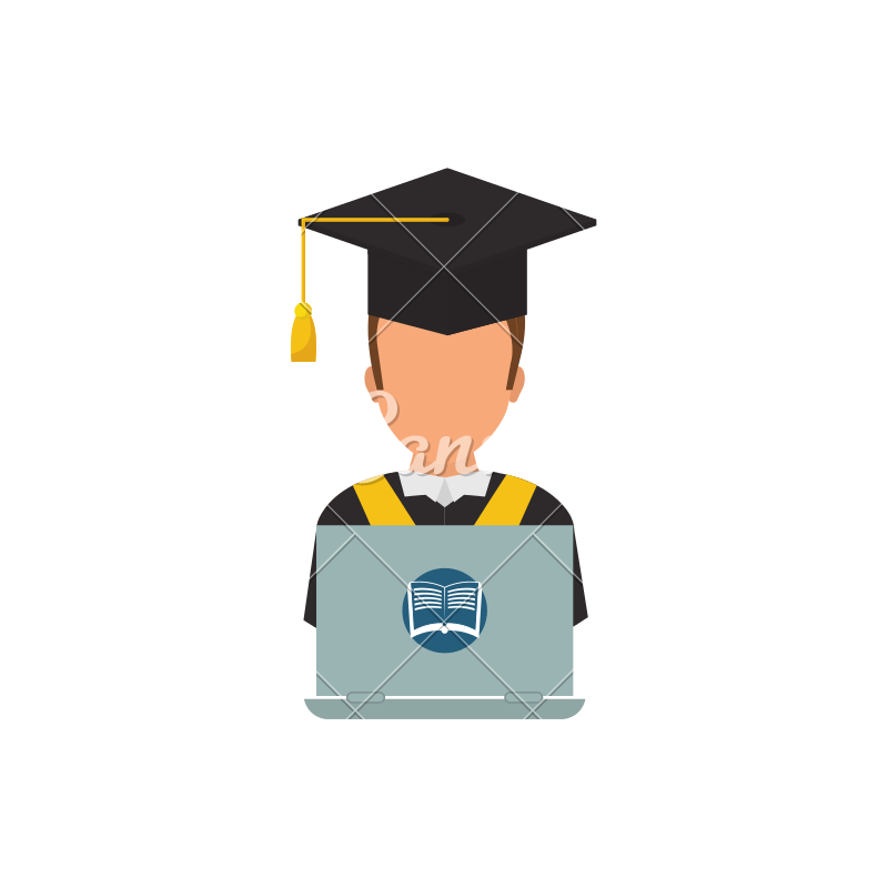 Elearning online education icons. Student clipart e learning