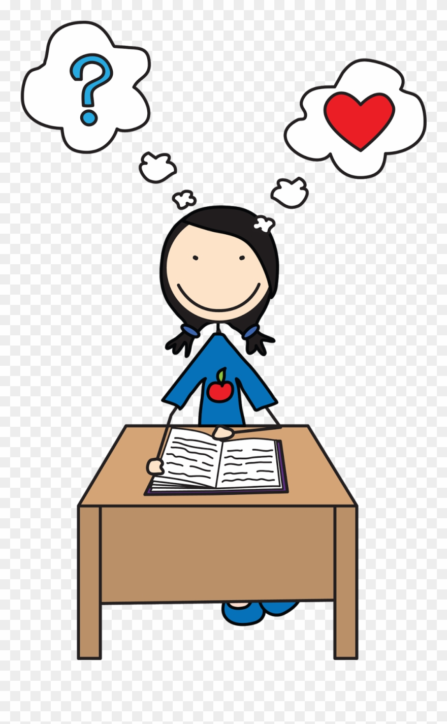 Student clipart person. Students reading girl thinking