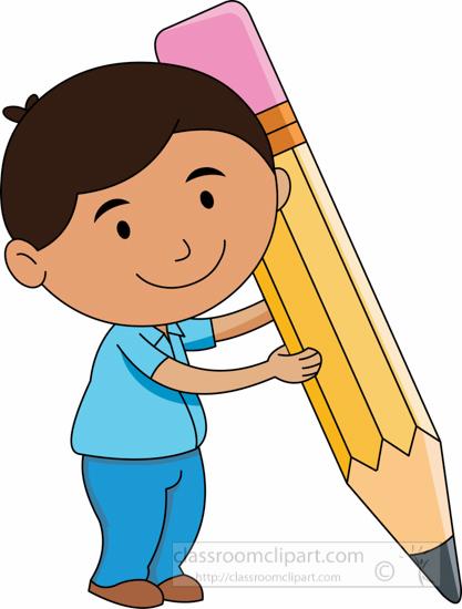 Clipart pencil student. School character holding big