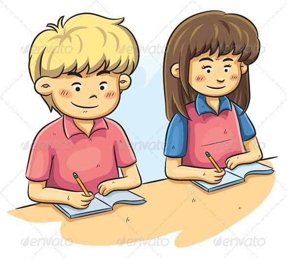 Kids studying reading cartoon. Study clipart child study