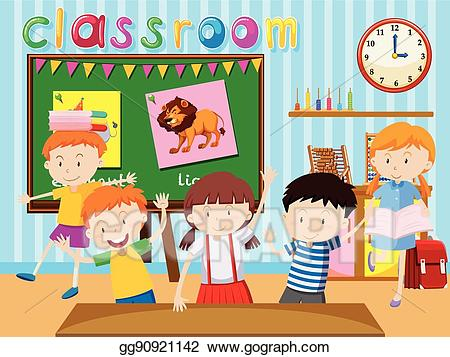 Study clipart child study. Vector many children in