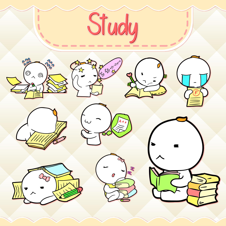 Study clipart cute. Kawaii design download hand