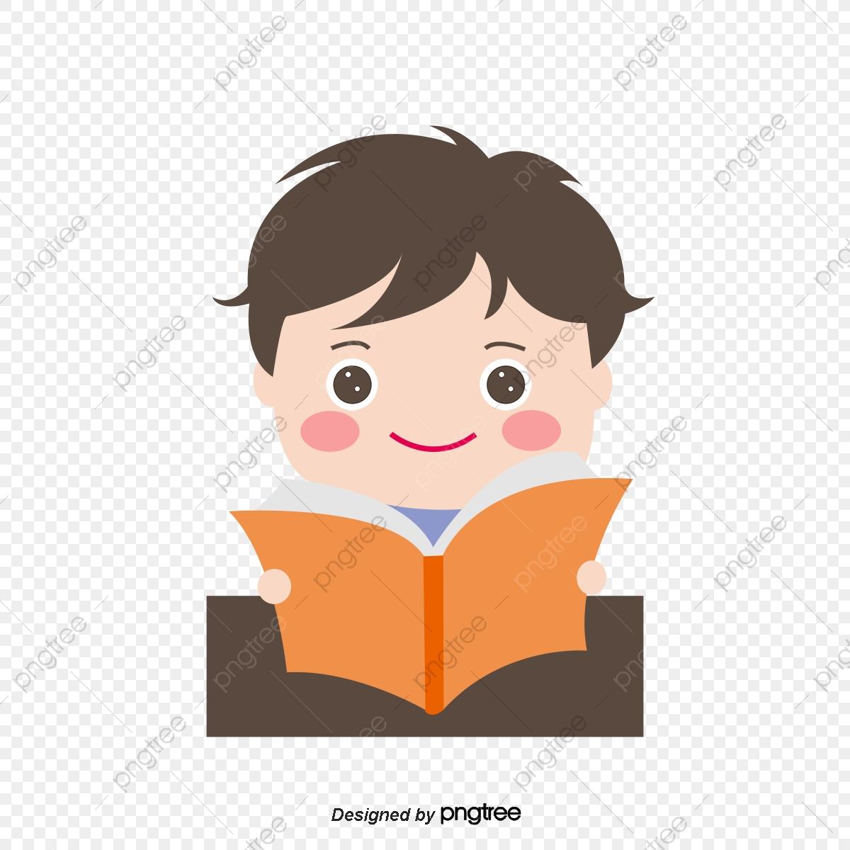 Cartoon children read carefully. Study clipart cute