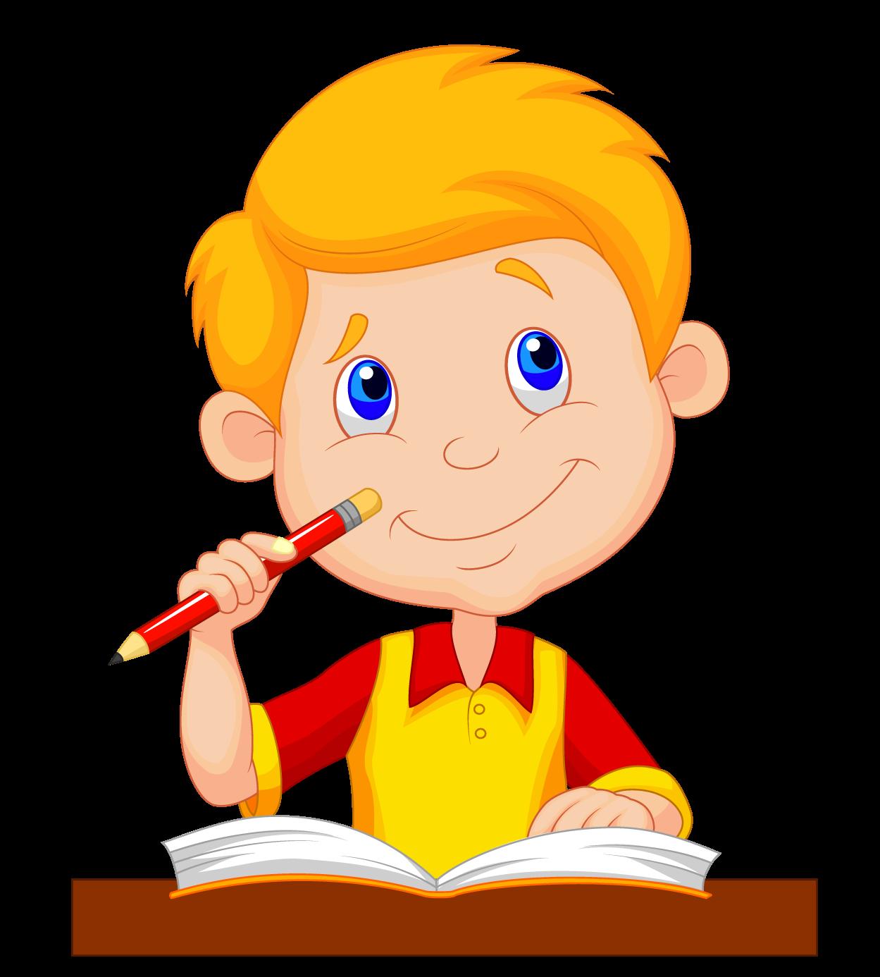 Cartoon child school children. Study clipart drawing