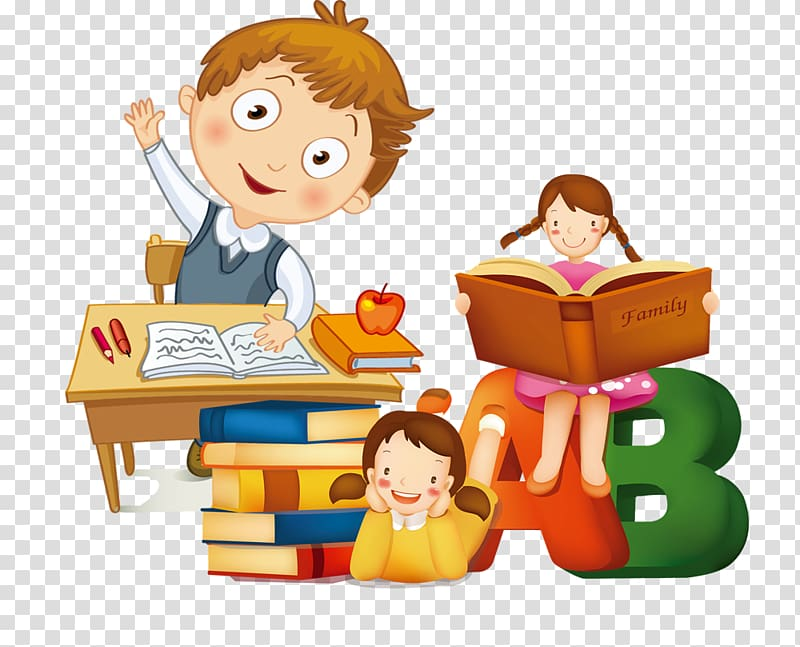 Study clipart learning. Three children studying art
