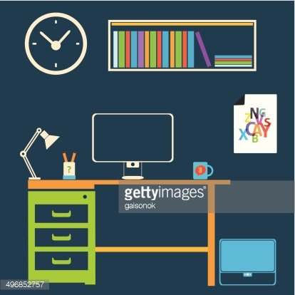 Interior room to work. Study clipart modern study