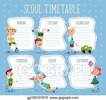 Vector illustration education diary. Study clipart study timetable