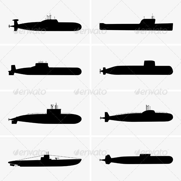 Submarine clipart army boat. Submarines graphicriver silhouettes svgs