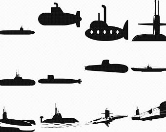 Submarine clipart silhouette. Etsy