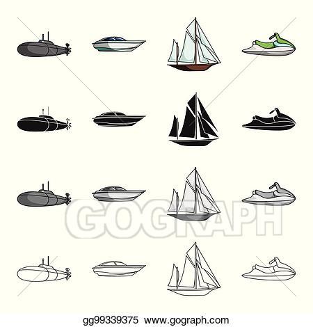 Submarine clipart transportation. Vector illustration transport water