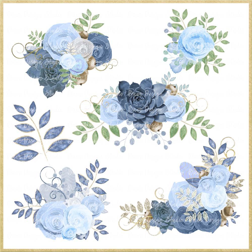 Blue roses border floral. Succulent clipart