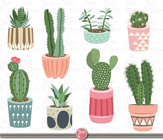 Succulent clipart. Cactus clip art pack