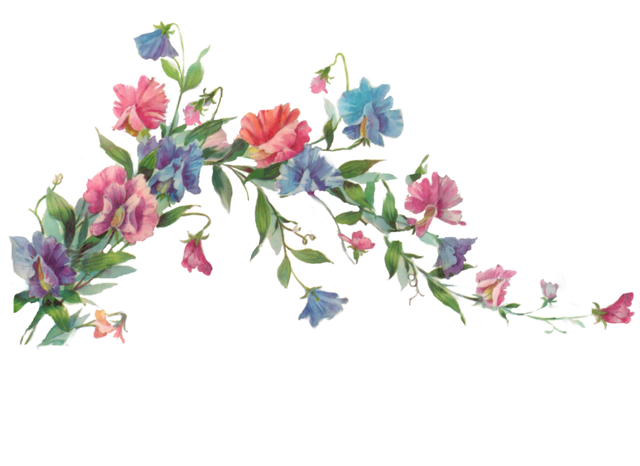 Wet clipart flower. Floral branch element by