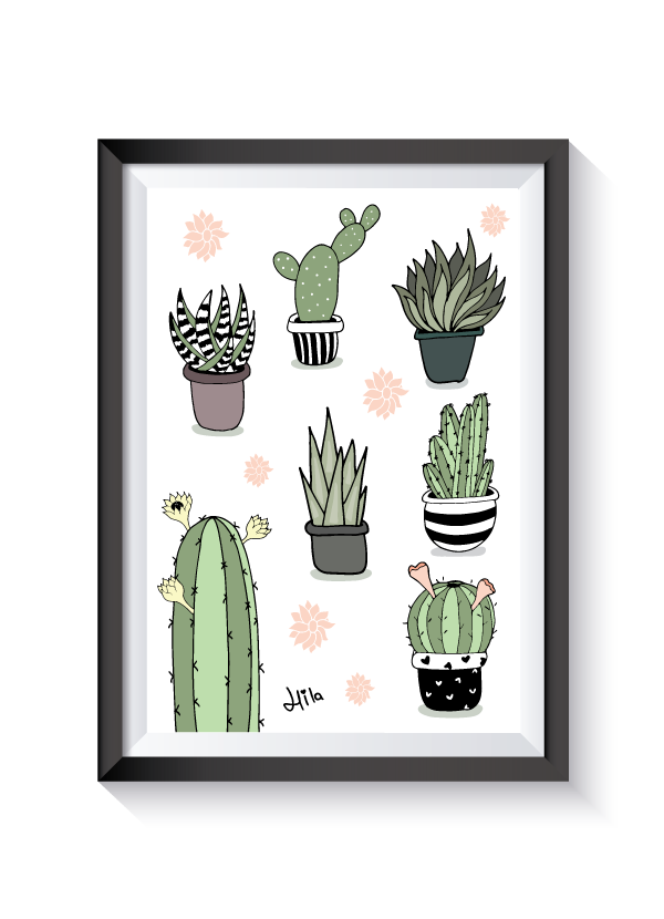 Succulent clipart modern. Pretty cactus illustrations by