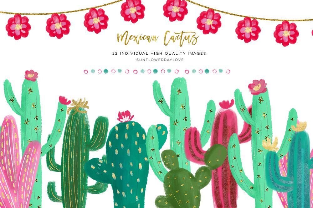 Mexican cactus . Succulent clipart scrapbooking supply