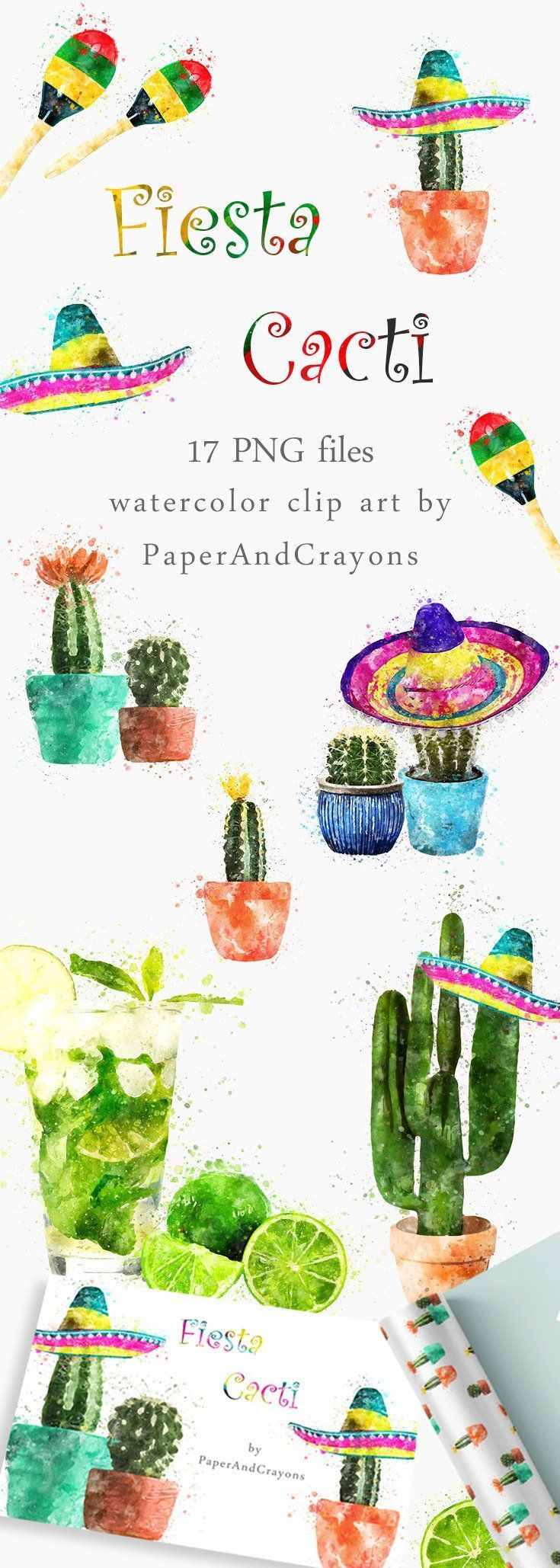 Succulent clipart scrapbooking supply. Fiesta cacti set clip