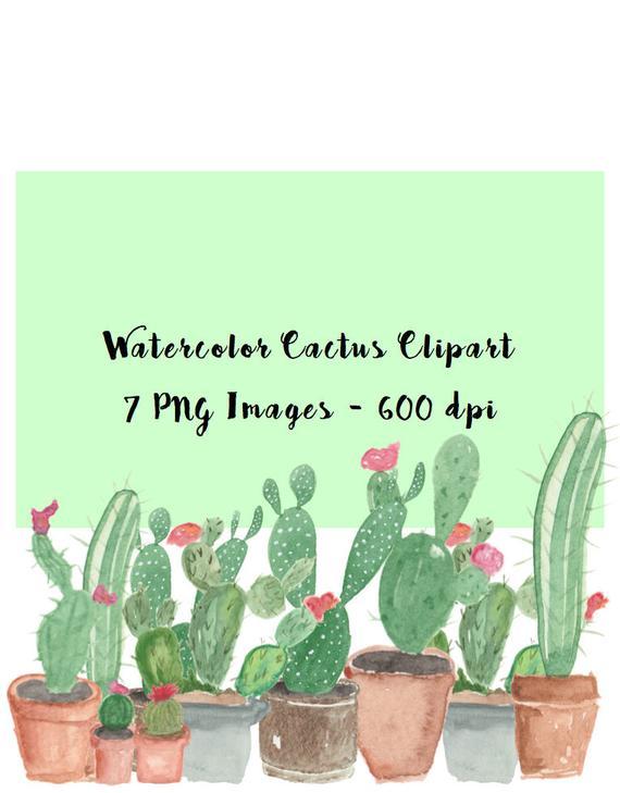Succulent clipart scrapbooking supply. Watercolor cactus supplies planner