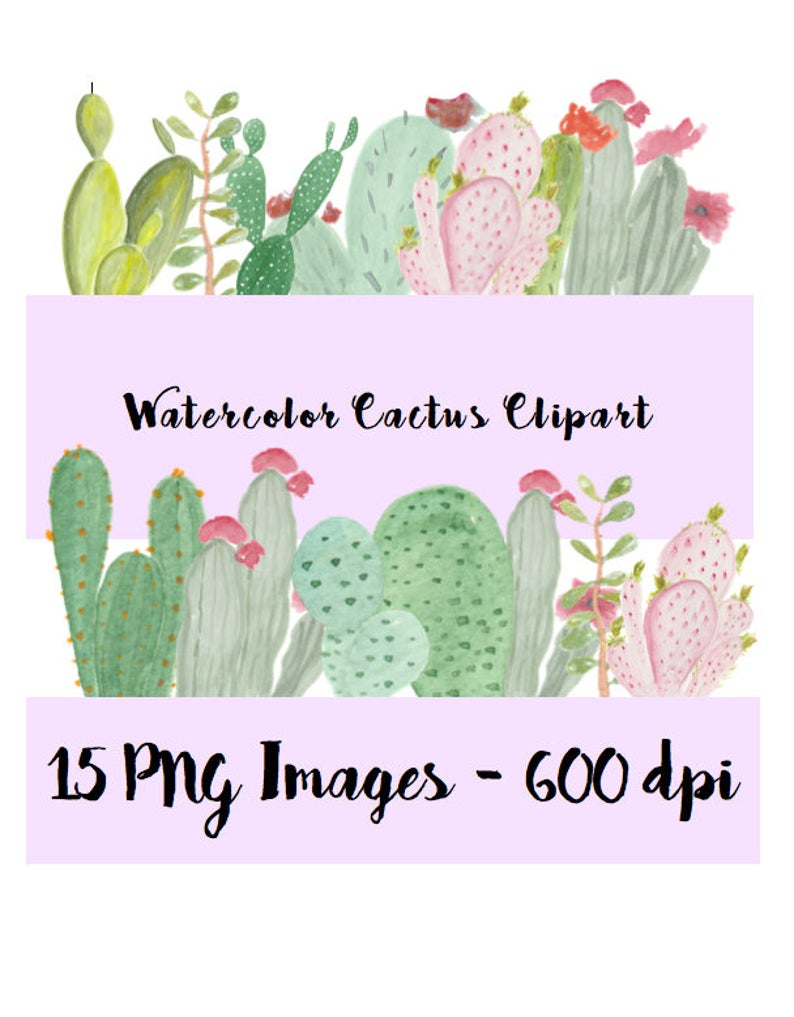 Watercolor cactus hand drawn. Succulent clipart scrapbooking supply