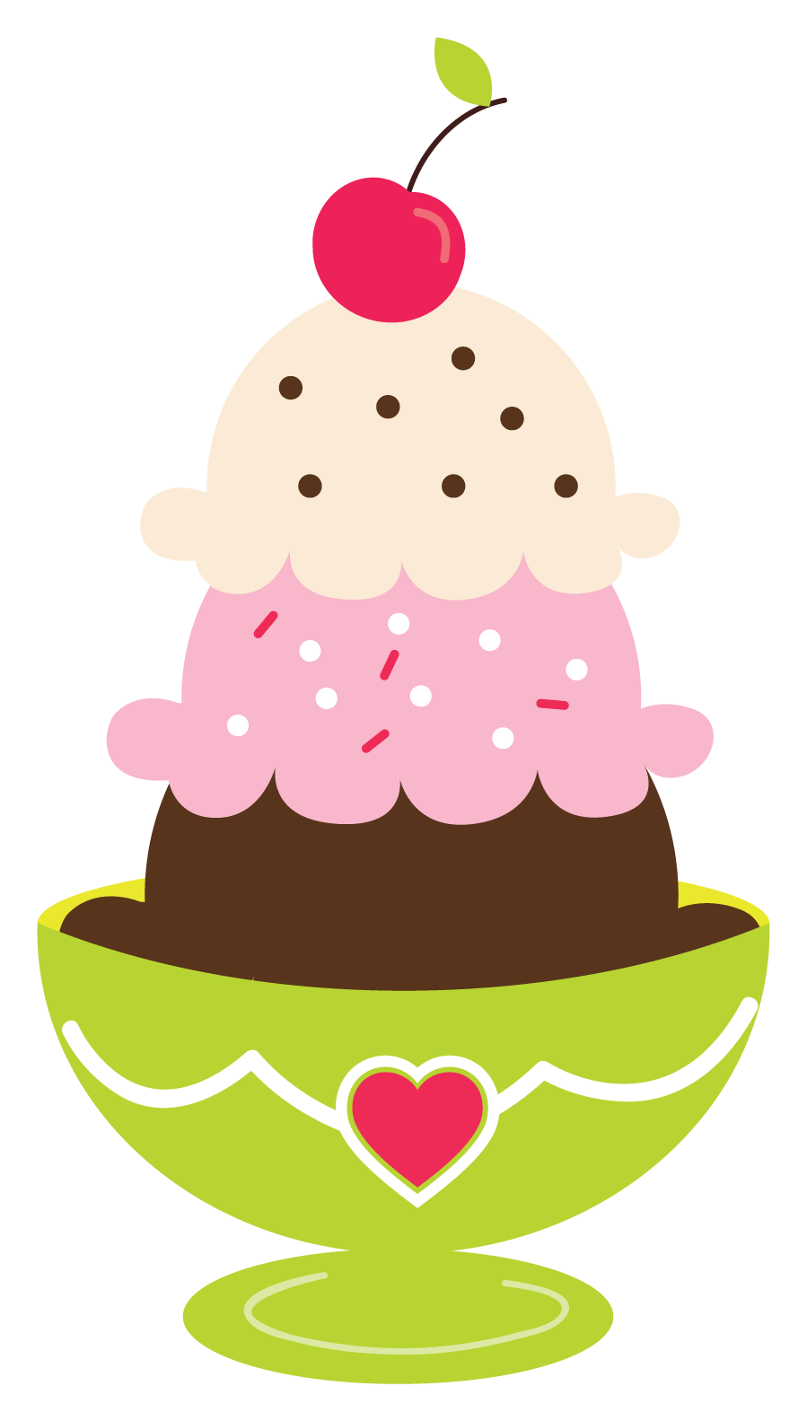 Ice cream sundae printables. Hearts clipart cupcake