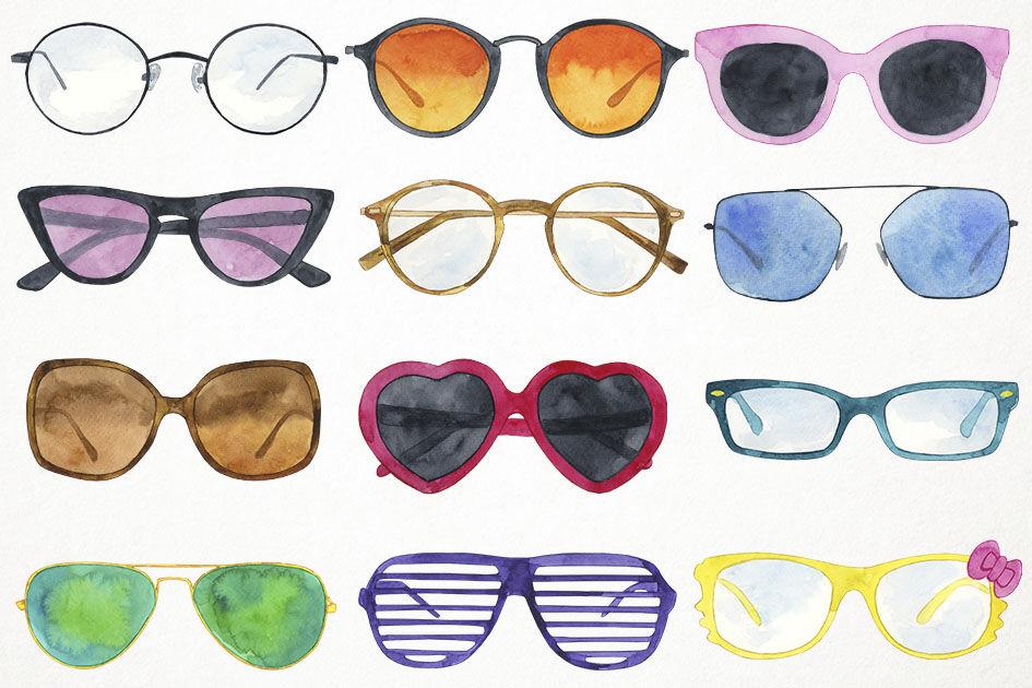 Watercolor glasses . Sunglasses clipart clip art