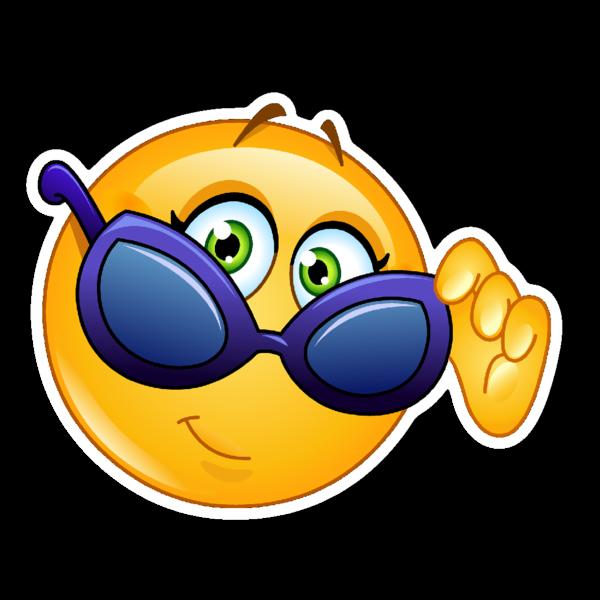 Sunglasses clipart emoji. Smiley vinyl die cut