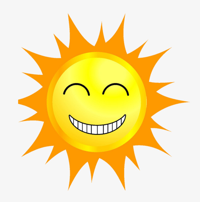 Cartoon smiling sun yellow. Sunny clipart