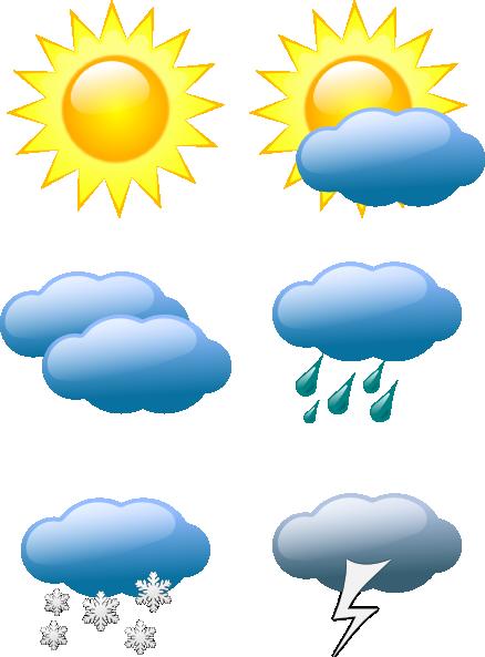 Sunny clipart. Weather clip art symbols
