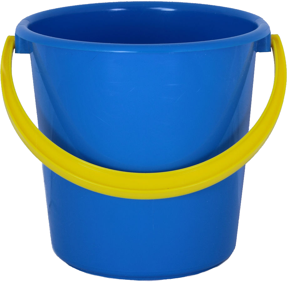 Blue plastic bucket png. Sunny clipart background