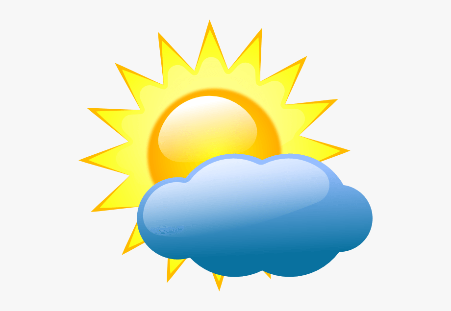 Weather symbols partly cloudy. Sunny clipart cartoon